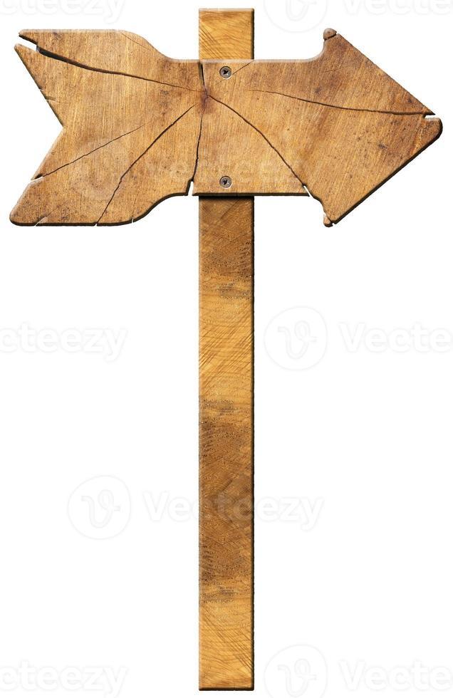 panneau directionnel en bois - une flèche photo