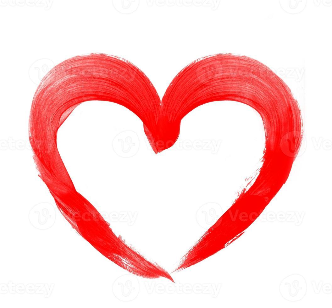 dessin de coeur rouge isolé sur blanc photo