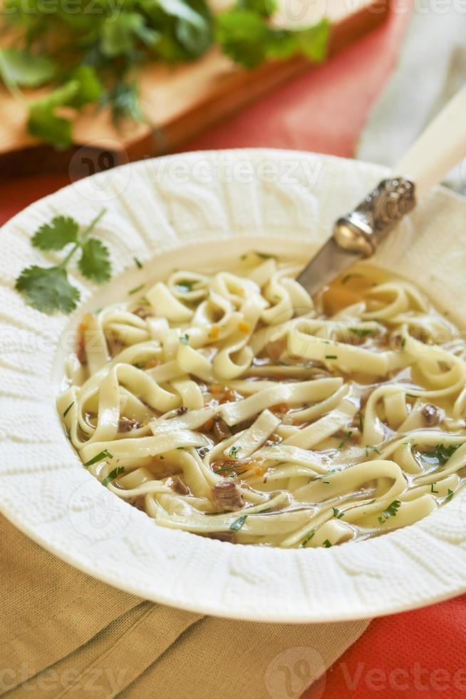 soupe de nouilles aux coeurs de dinde photo