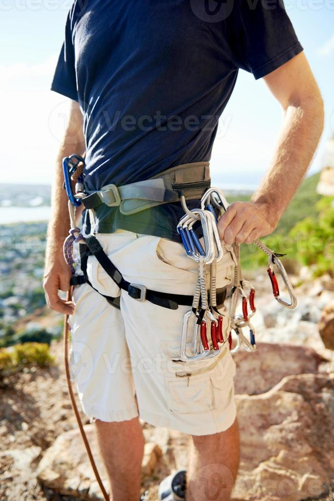 harnais d'escalade avec équipement de sécurité photo