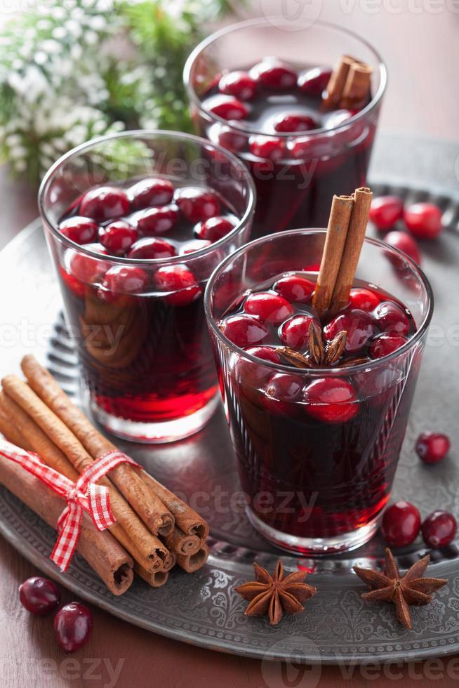verre de vin chaud aux canneberges et épices, boisson d'hiver photo