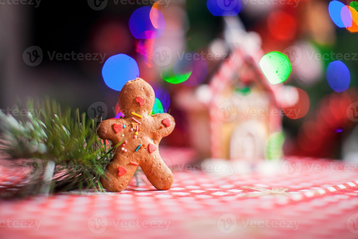 gros plan, de, homme pain d'épice, fond, bonbon, gingembre, maison photo