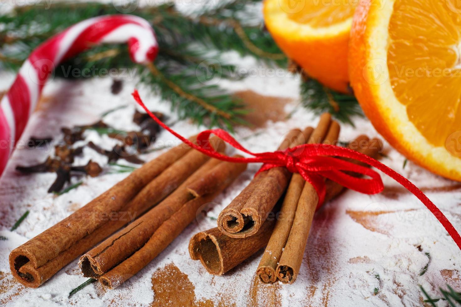 cannelle et oranges pour Noël, macrophotographie photo