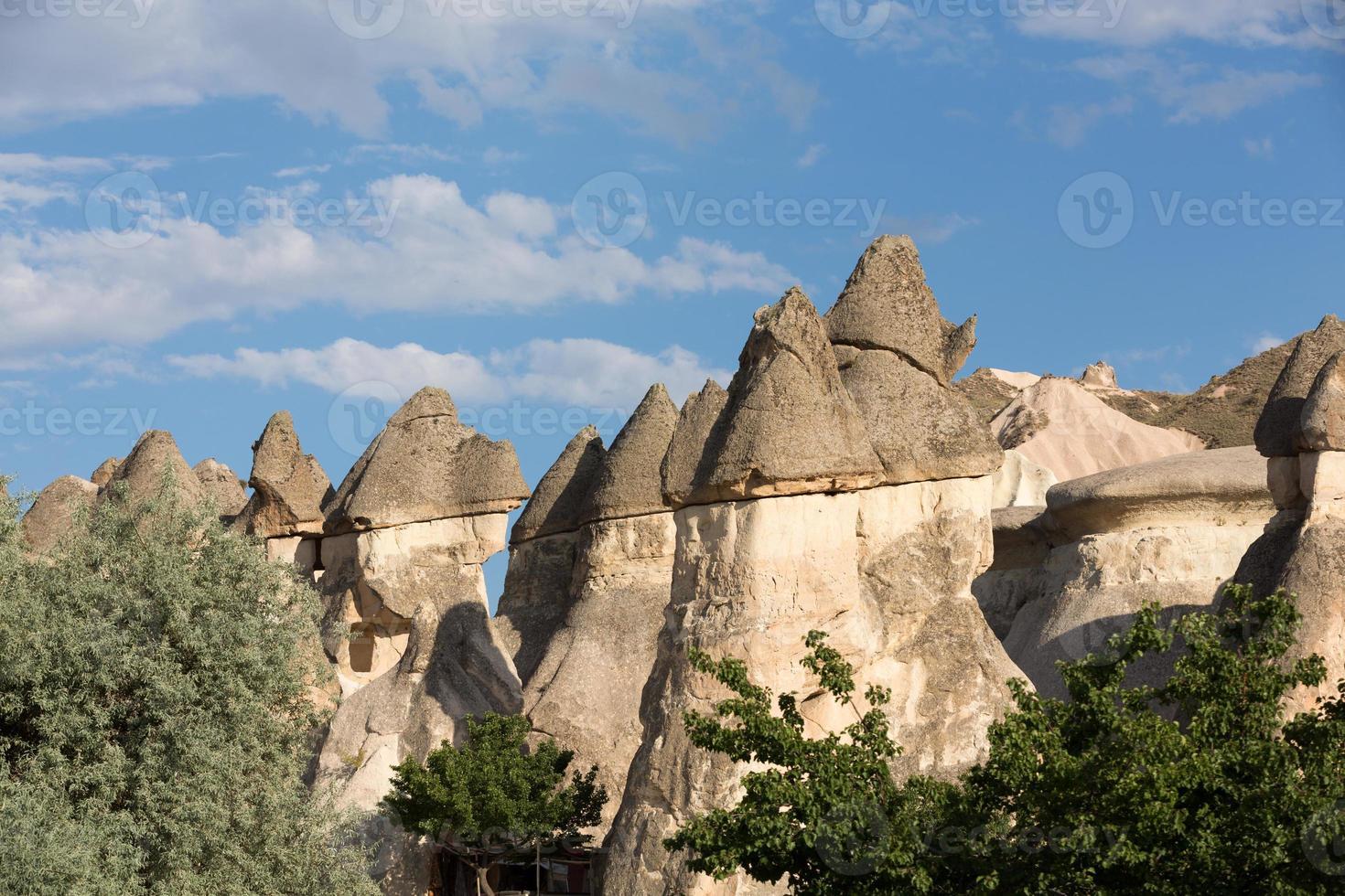formations rocheuses dans le parc national de Goreme. cappadoce photo