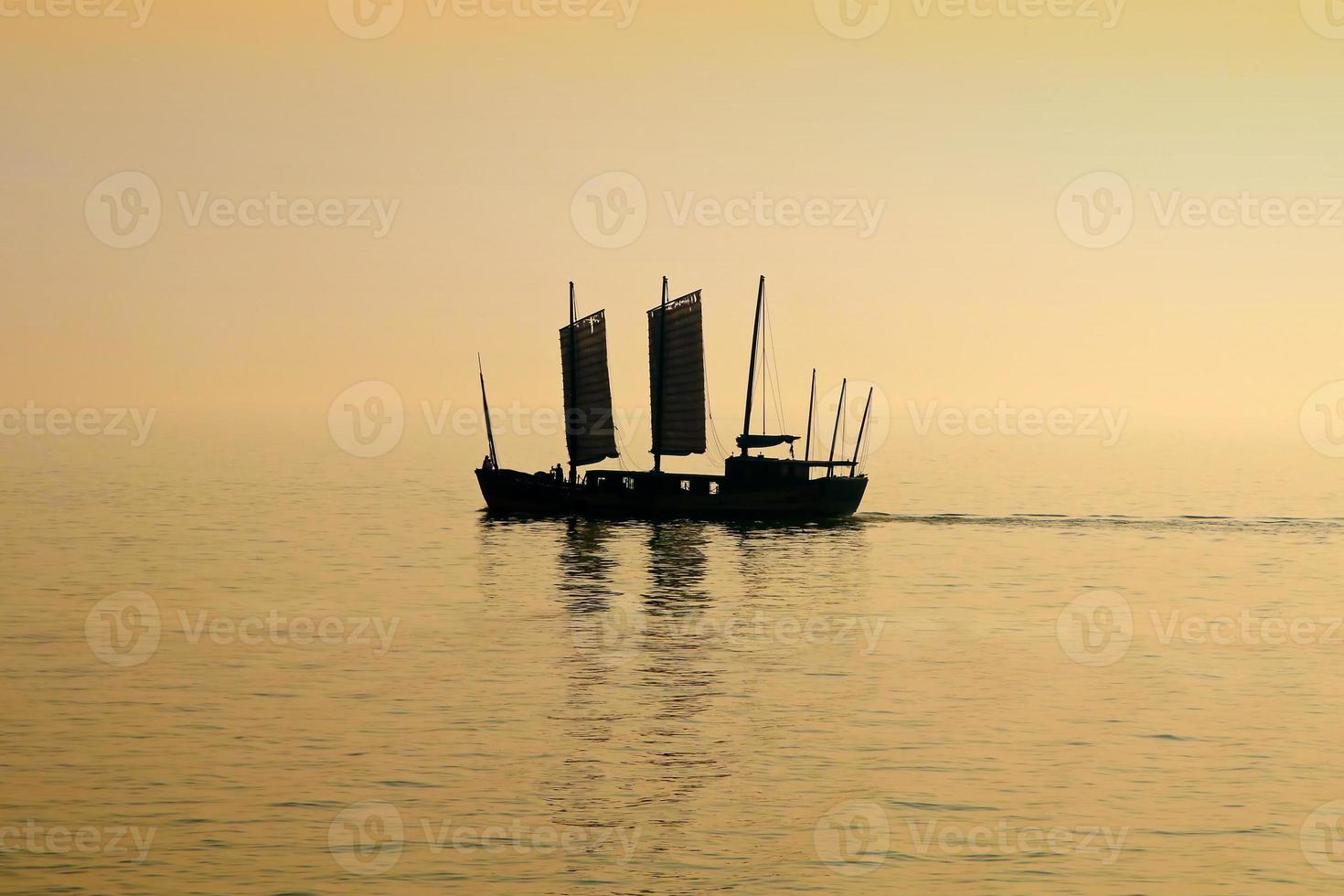 coucher de soleil sur le lac tai photo