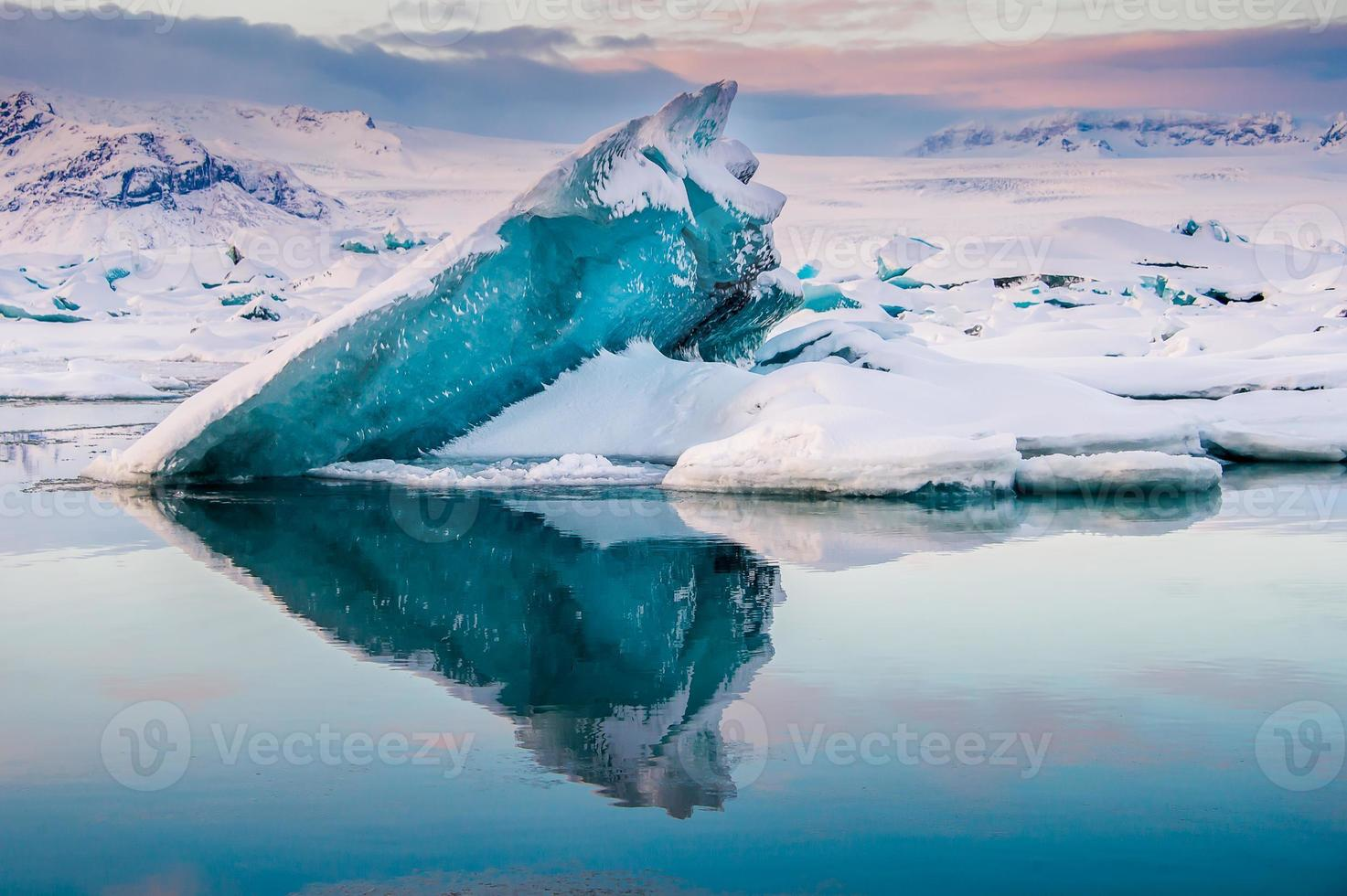 Magnifique lagon bleu jokulsaron lagoon, Islande photo