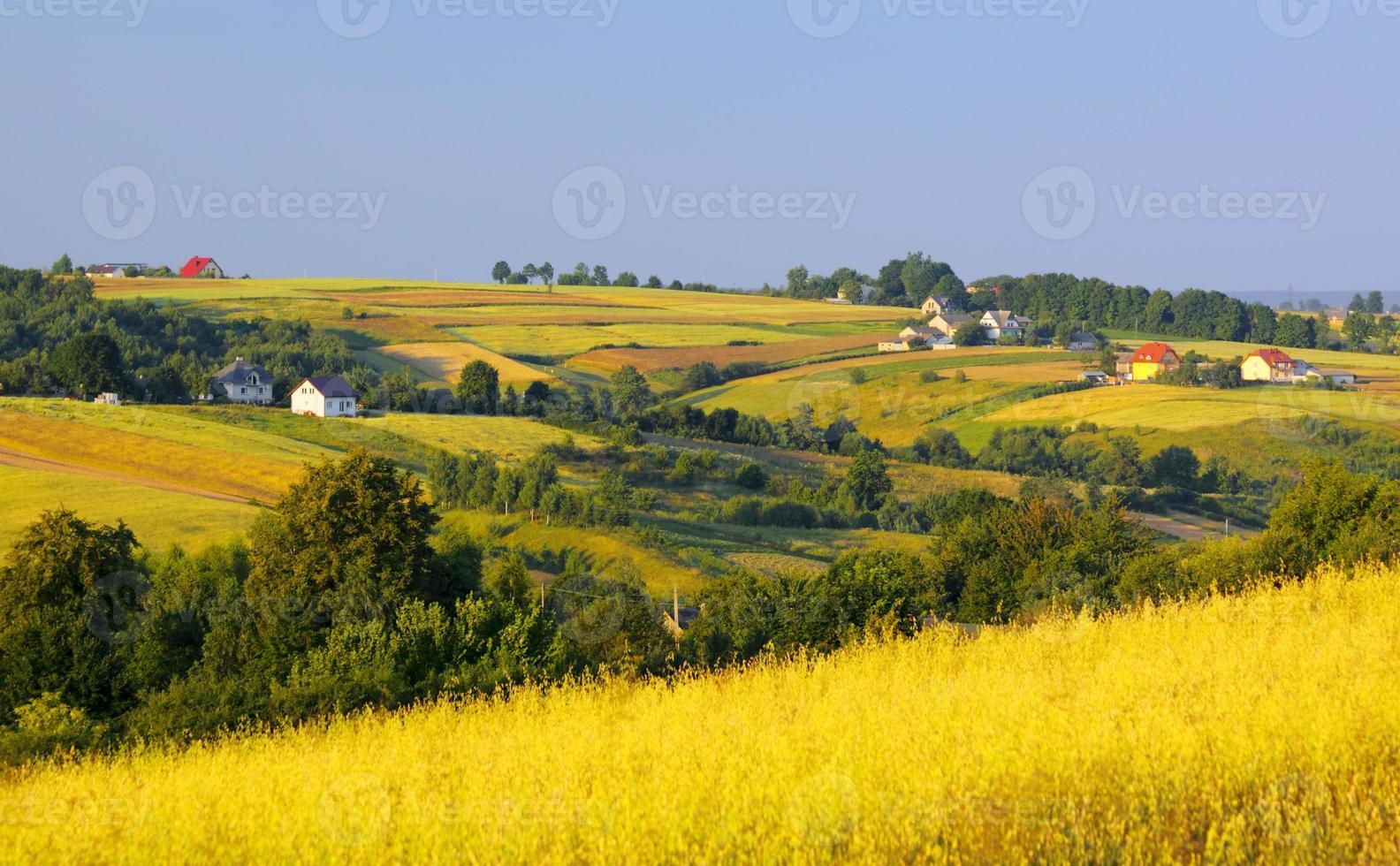 champs ondulés et village photo