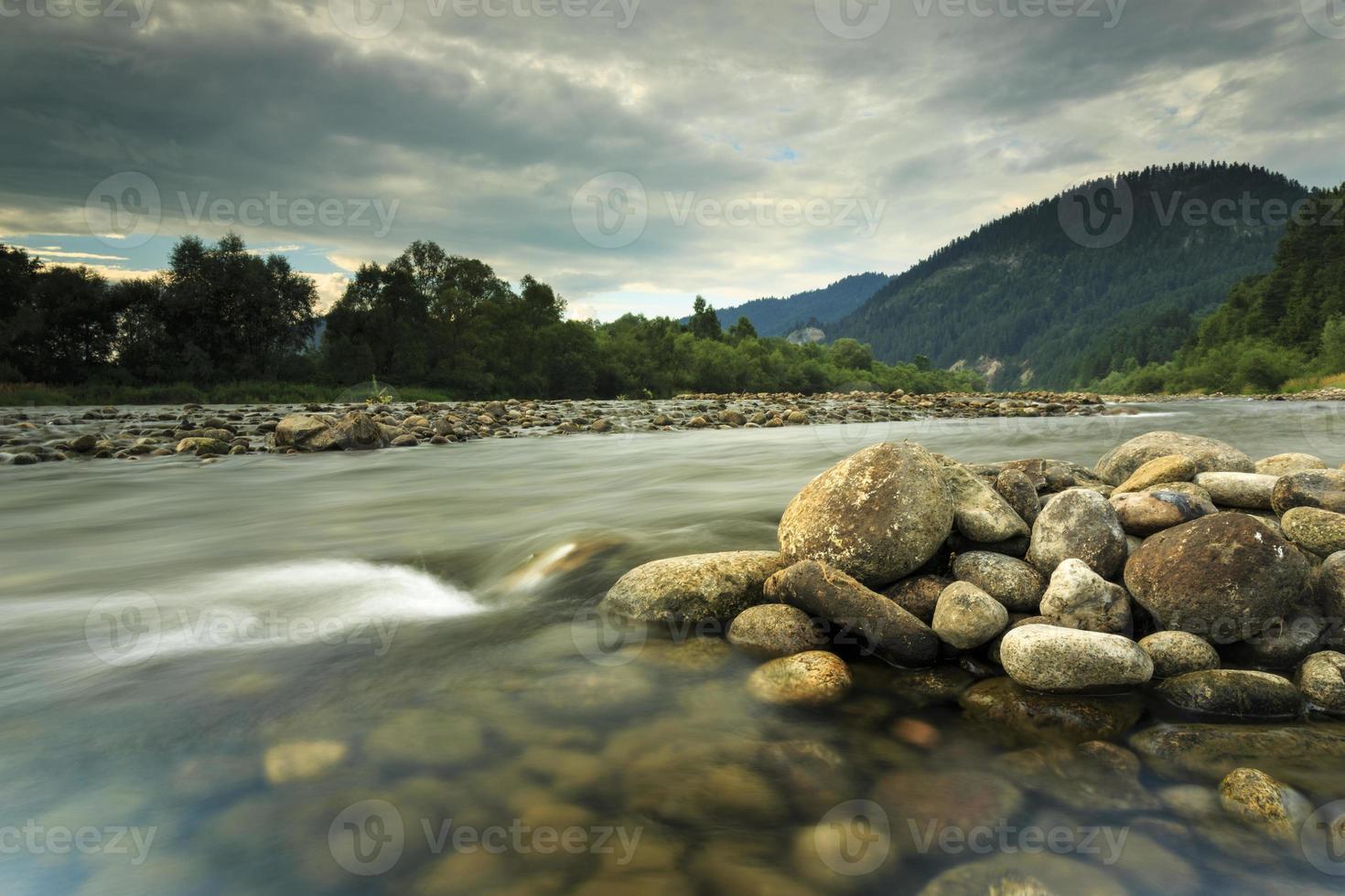 rivière de montagne dunajec dans le paysage boisé photo