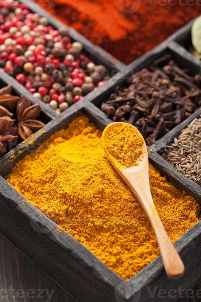 épices poivre noir, poudre de paprika, curry, anis; Clou de girofle; cumin photo