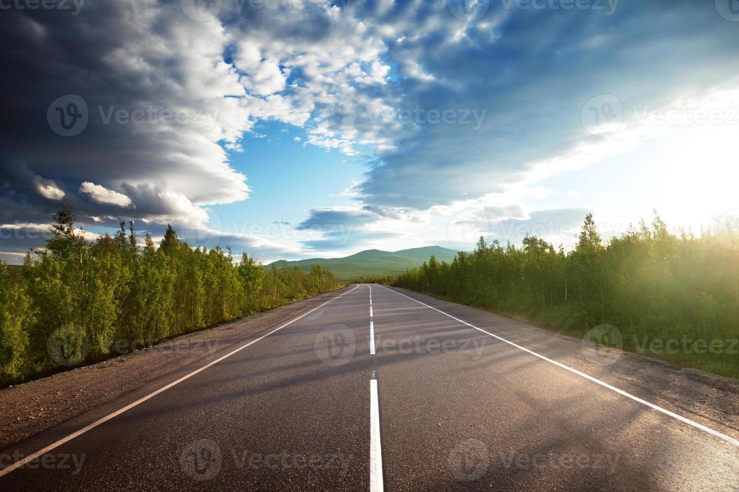 une longue route avec des arbres de chaque côté et un beau ciel photo