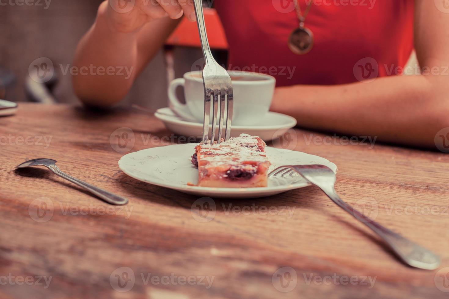 femme, avoir café, et, gâteau photo