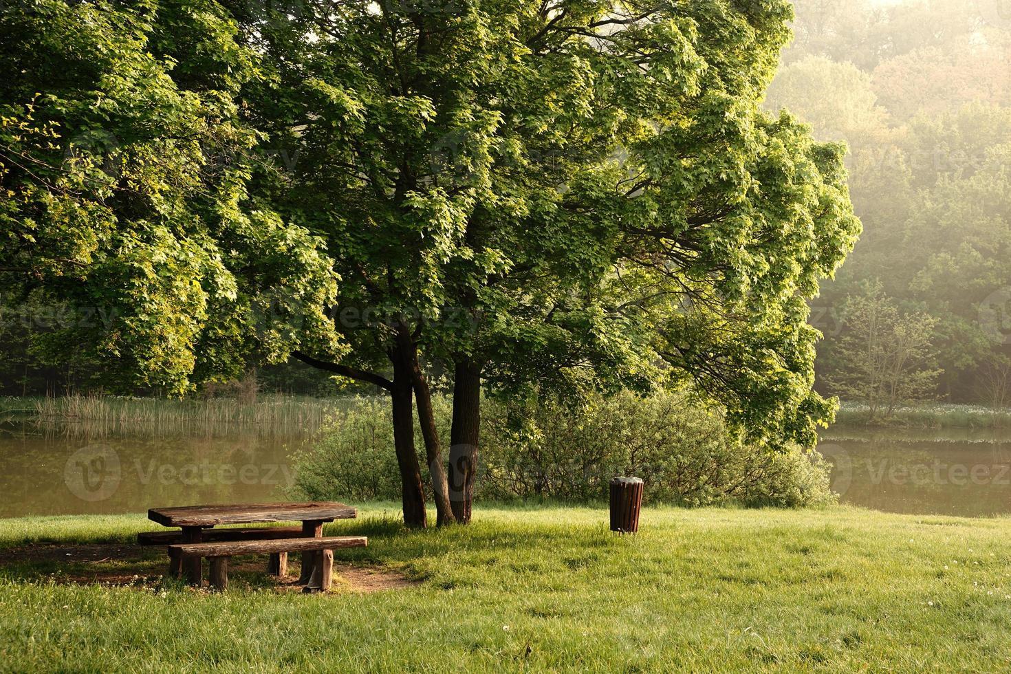 table dans le lac du parc en arrière-plan photo