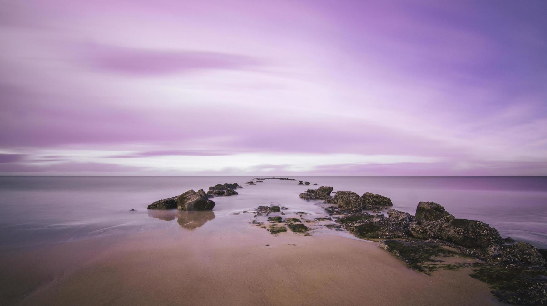 coucher de soleil rose à la mer du nord photo