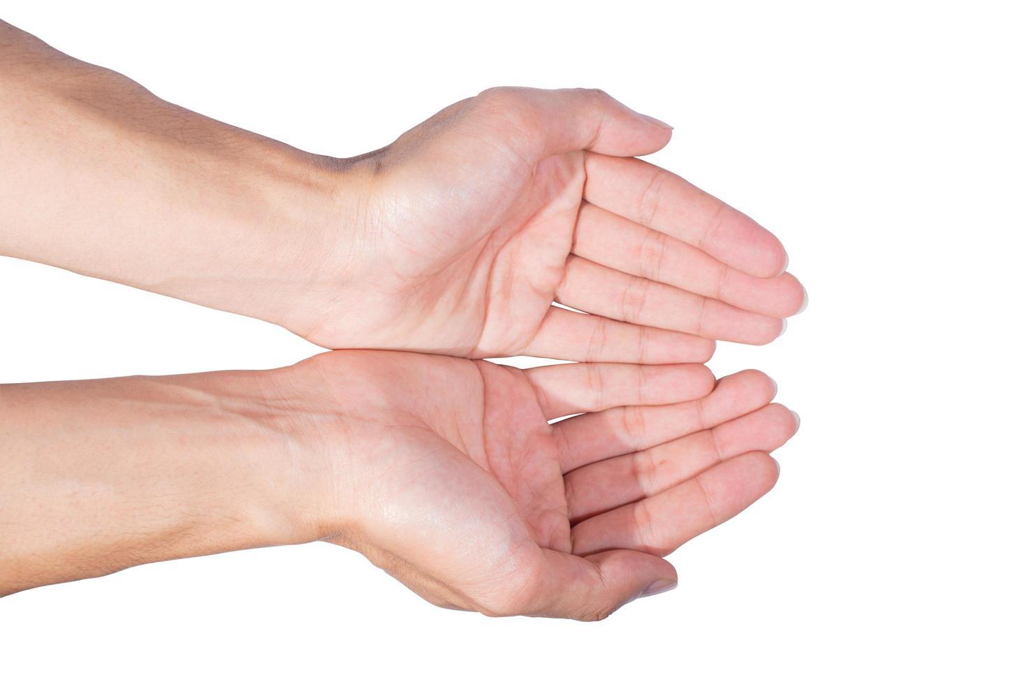 mains sur fond blanc photo
