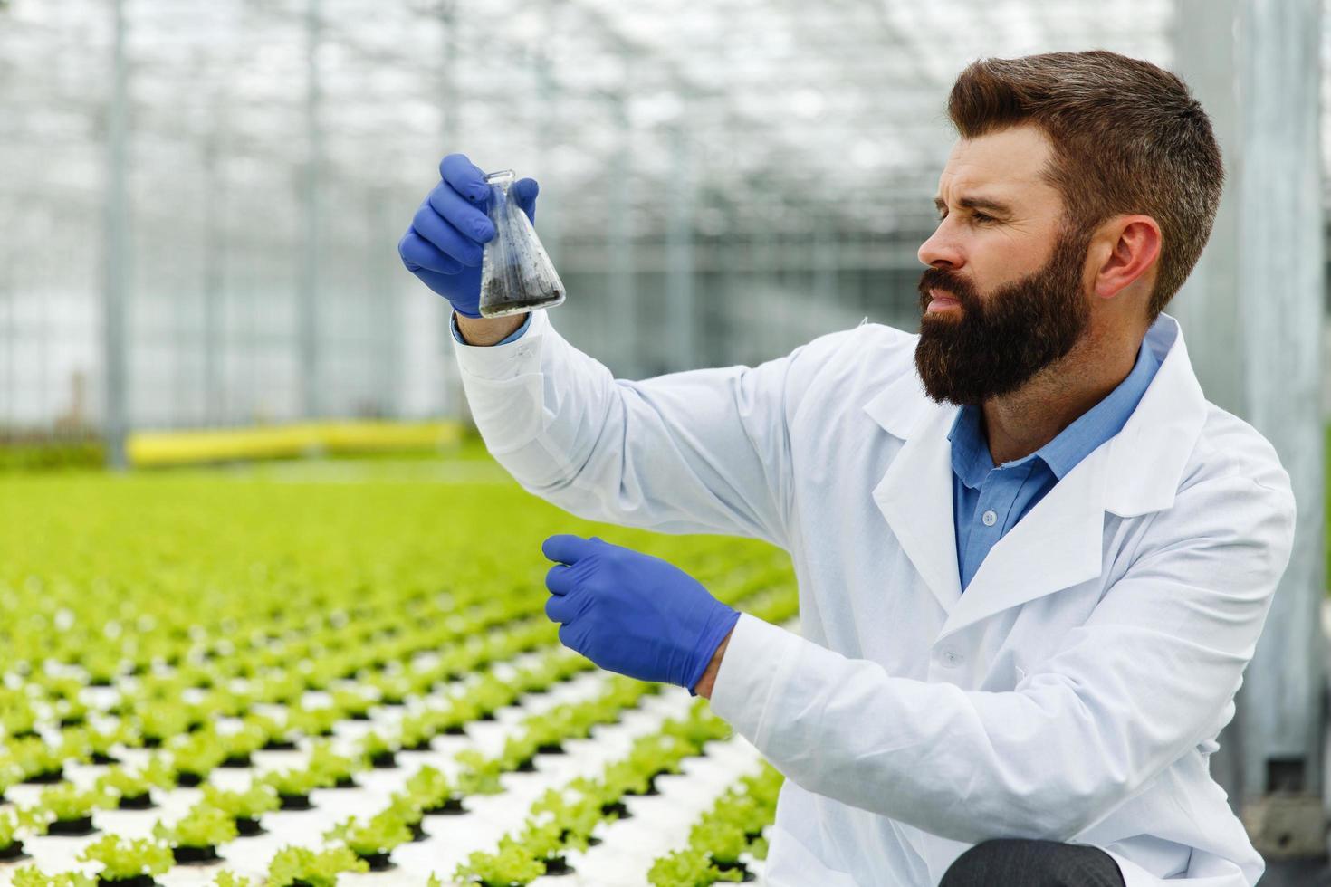 L'homme prend un échantillon dans une fiole d'erlenmeyer photo