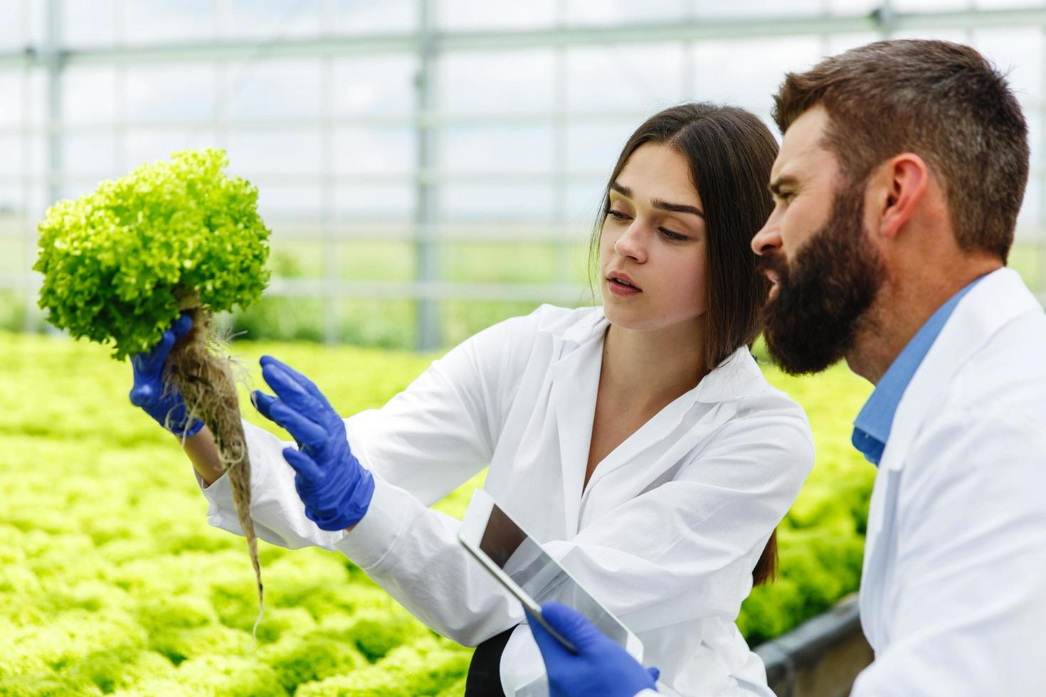 femme et homme en robe de laboratoire photo