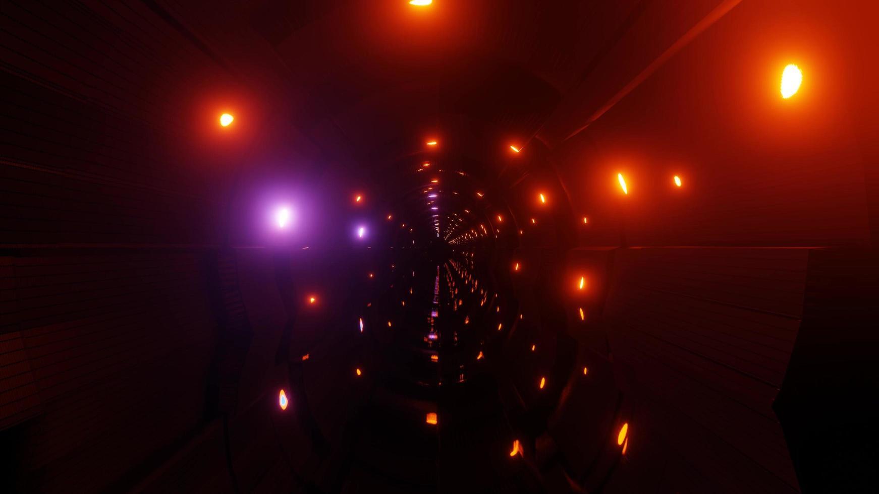 Lumières mobiles sur illustration 3d de tunnel de science-fiction photo