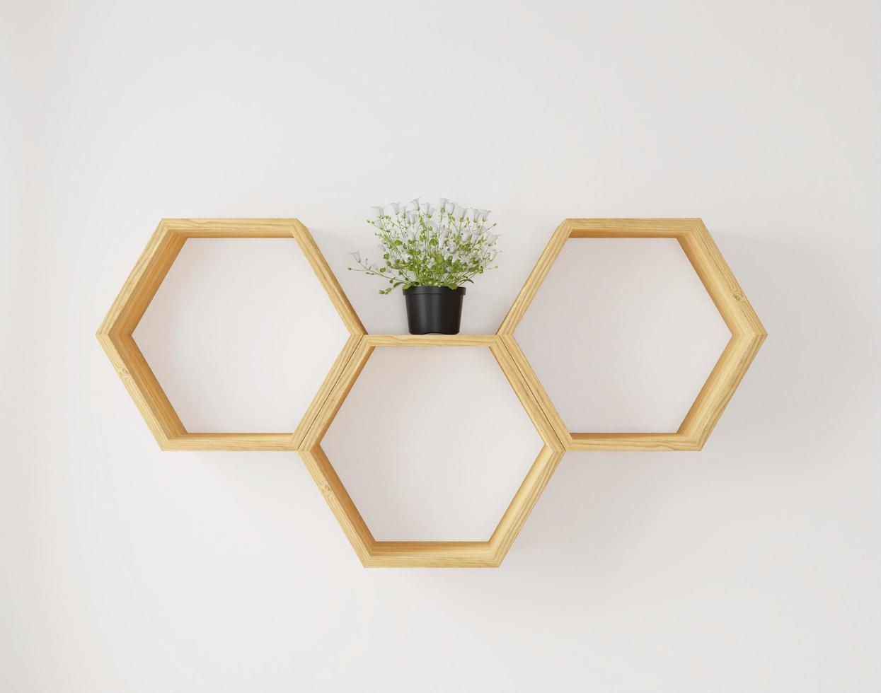 étagère hexagonale et fleur pour espace de copie ou maquette photo
