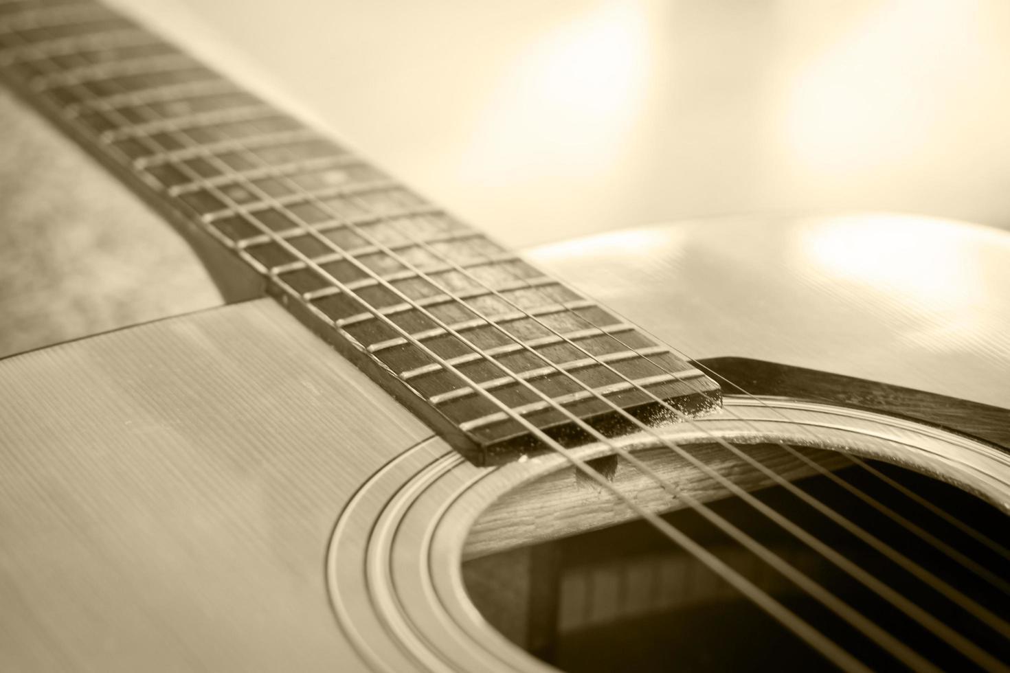 gros plan, de, une, guitare acoustique photo