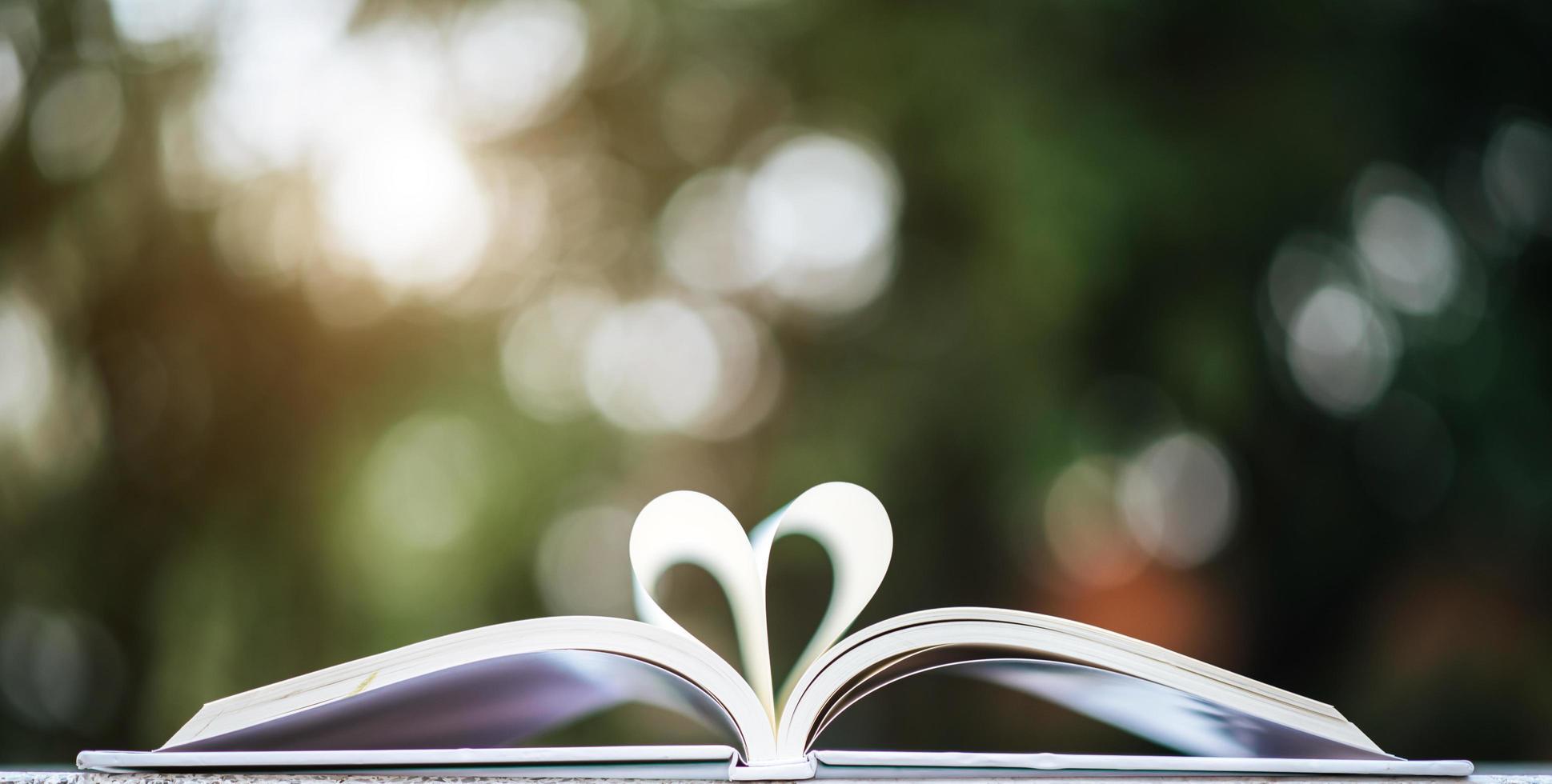 livre ouvert en forme de coeur photo