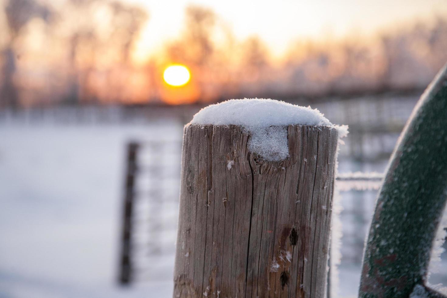 neige sur un poteau au lever du soleil photo