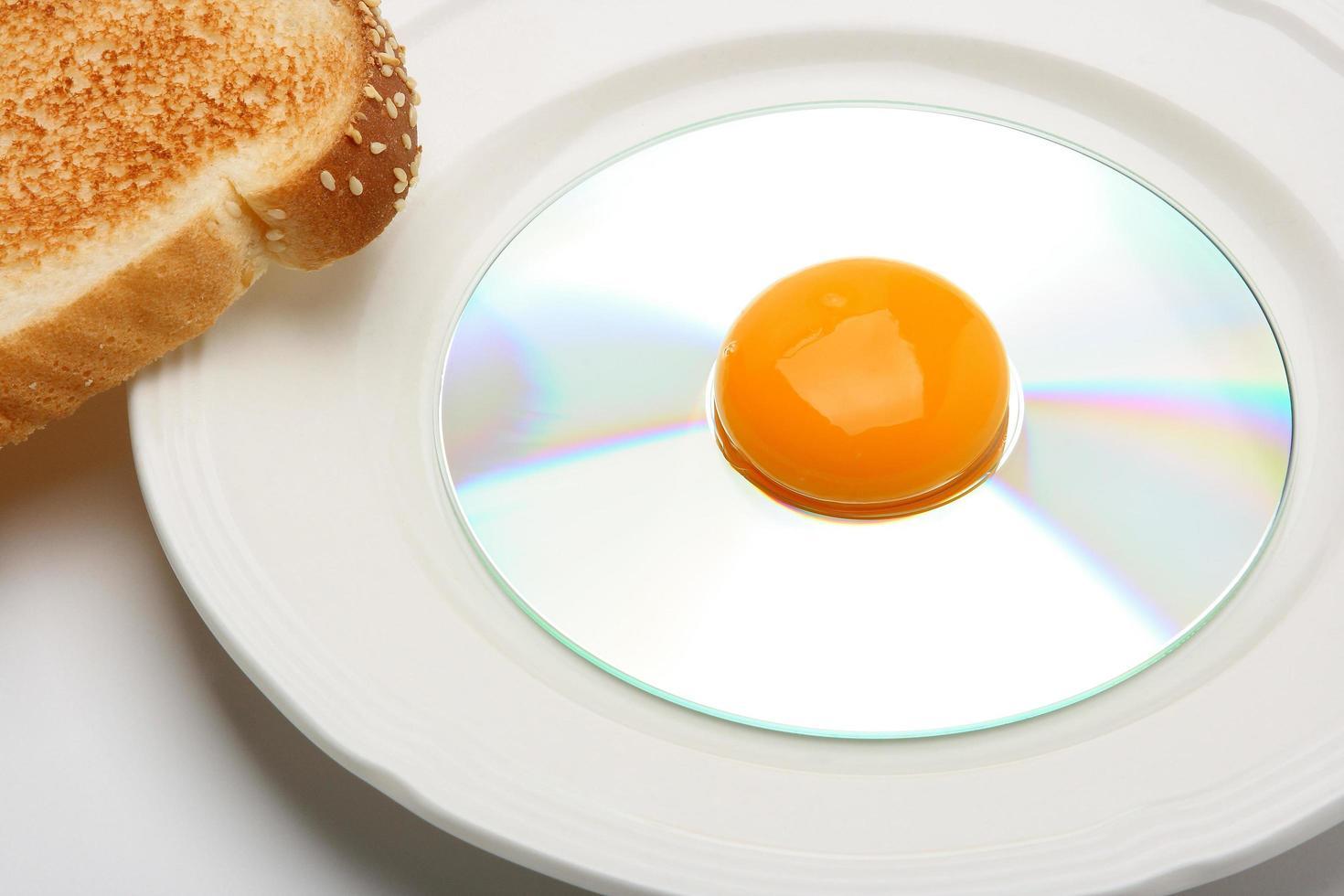 jaune d'oeuf sur disque compact photo