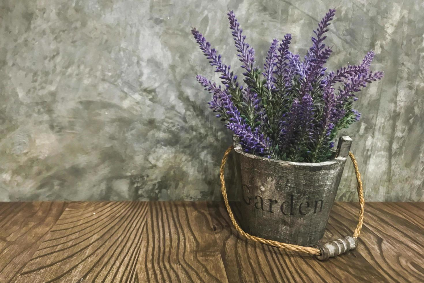 lavande dans un seau en métal photo