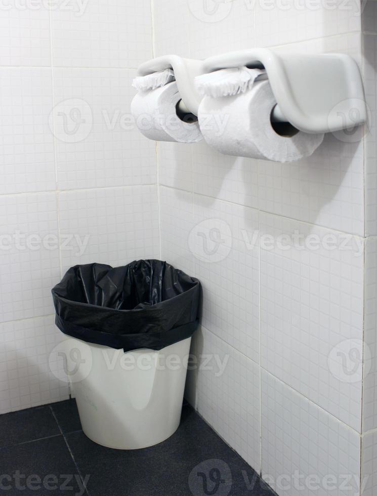 rouleau de papier de soie dans la salle de bain photo