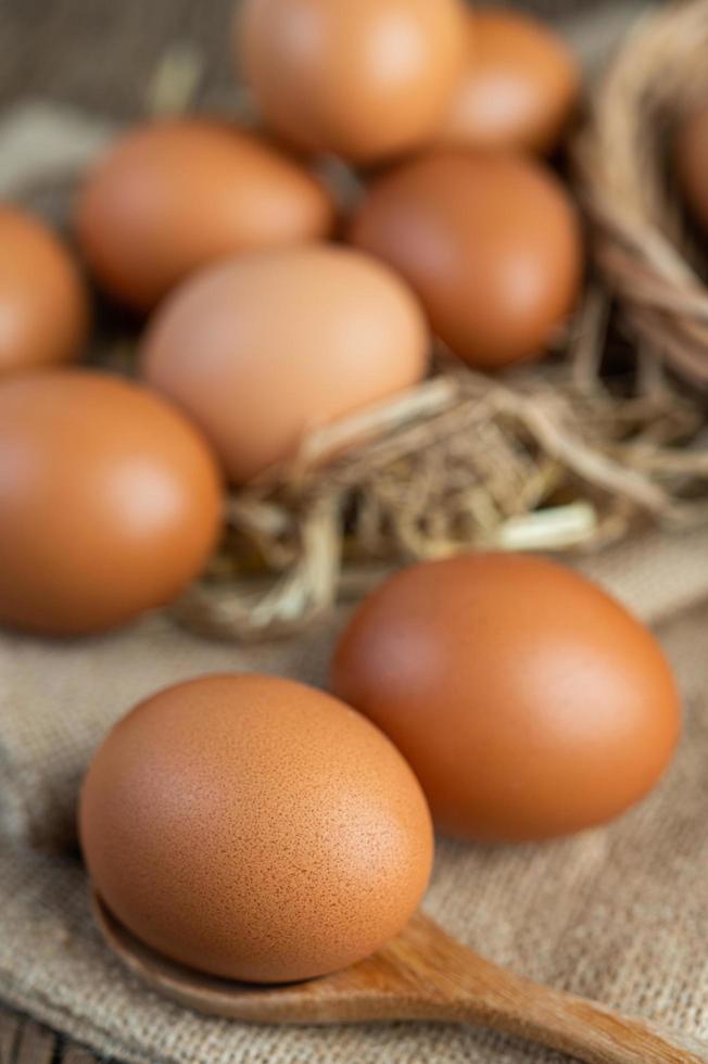 œufs crus sur chanvre et paille photo