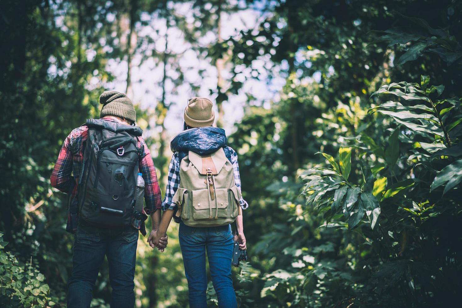 jeunes voyageurs actifs se tenant la main en marchant dans la forêt photo