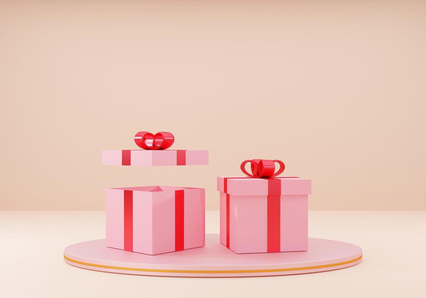 coffret cadeau rose avec ruban rouge photo