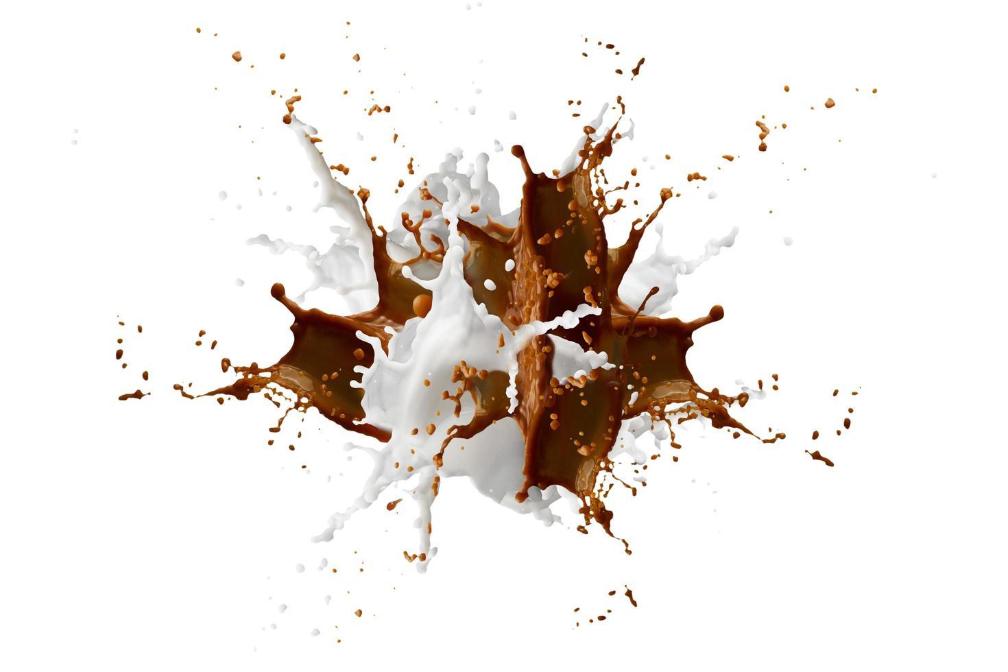café et lait volant et éclaboussant photo