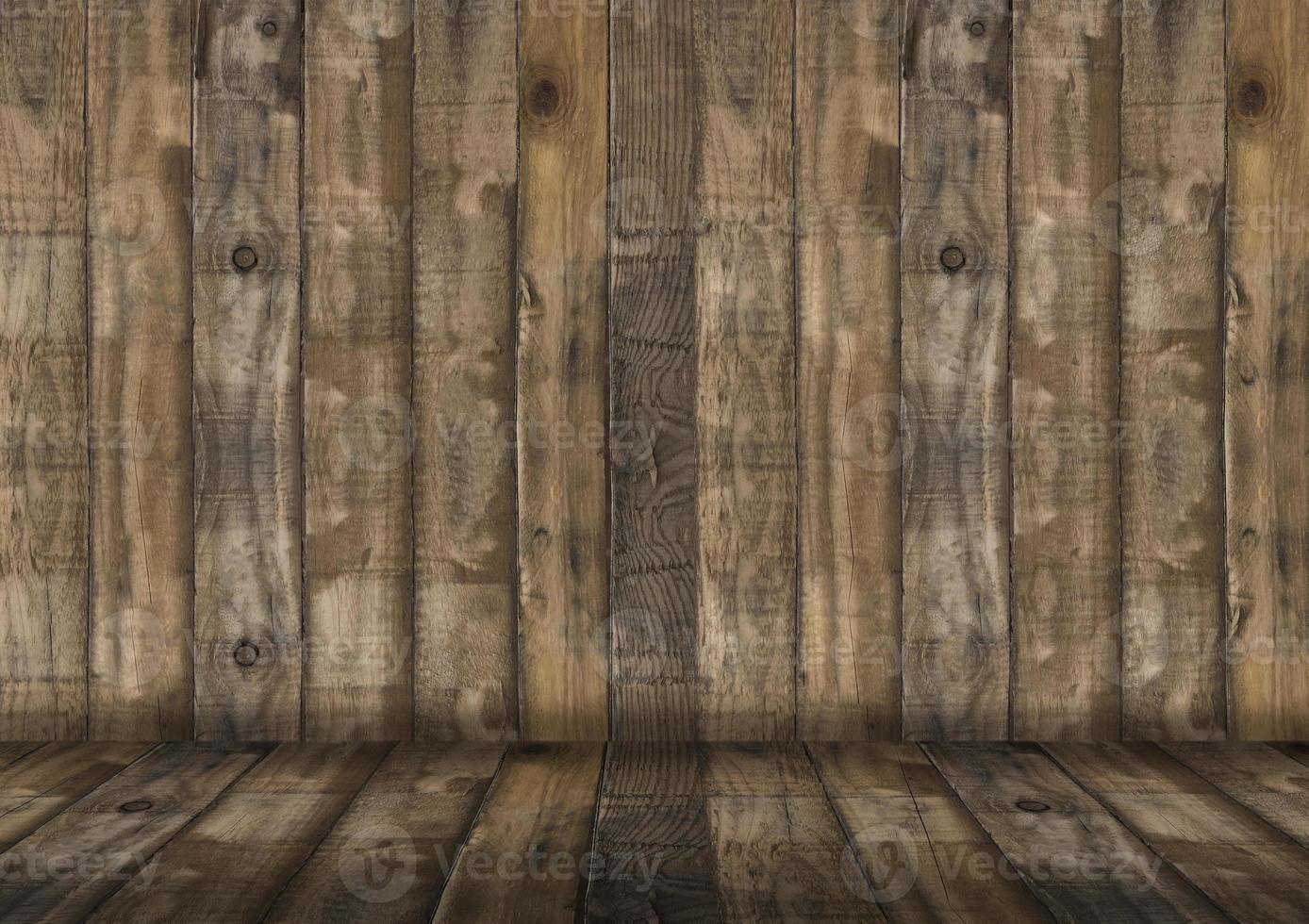 salle en bois vide pour présenter les produits photo
