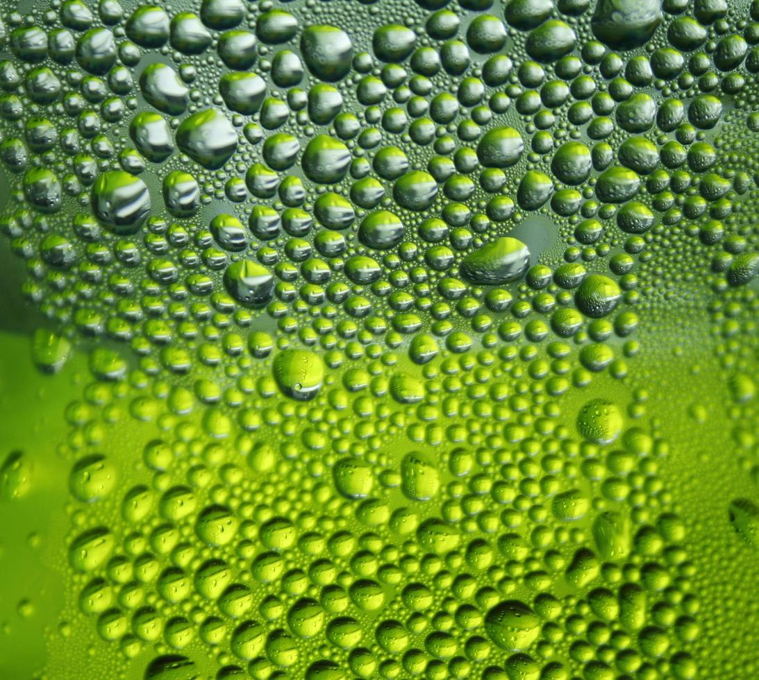 gouttes deau sur fond vert photo