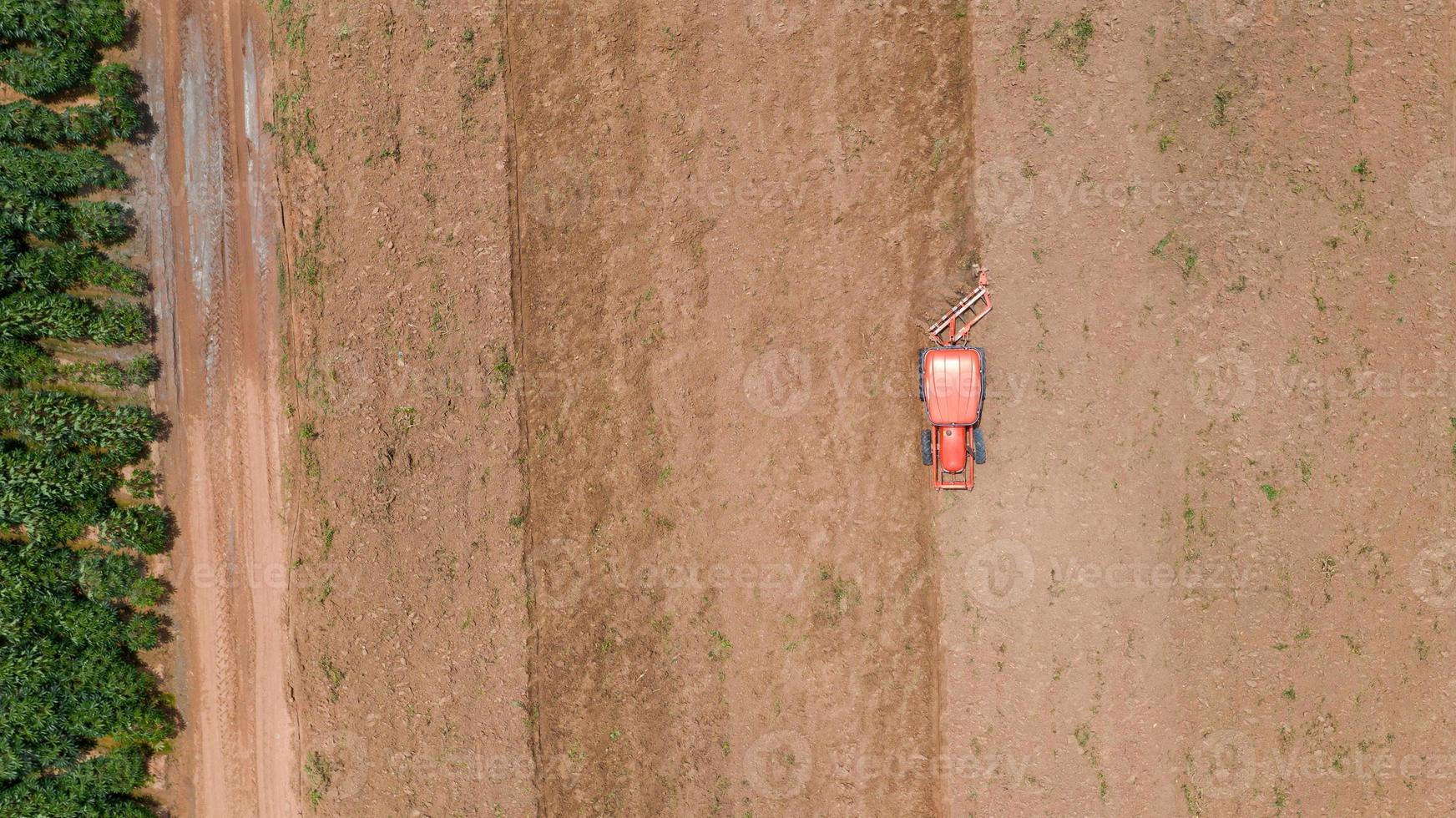 tracteur rouge dans un champ photo