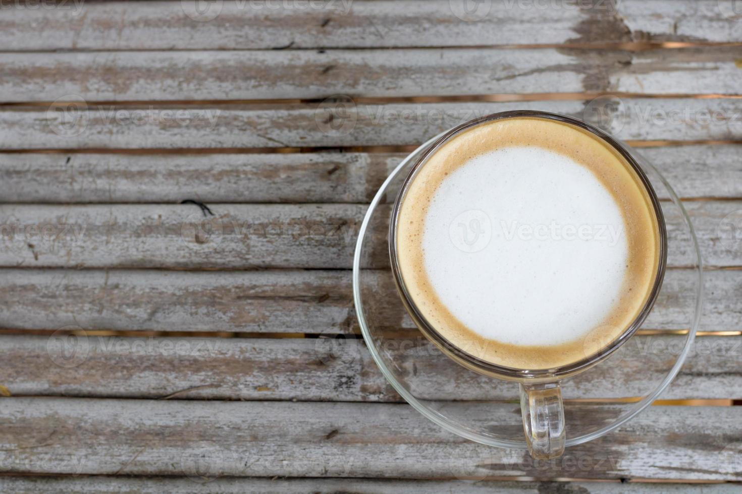 vue de dessus du café sur la table en bois photo