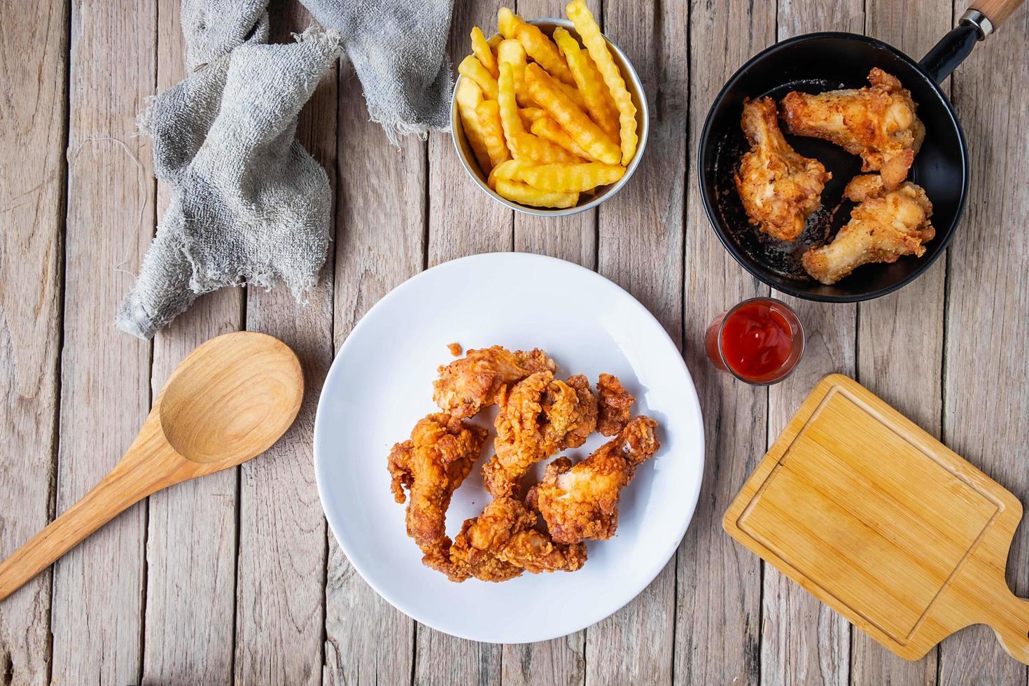poulet frit sur une assiette et une poêle photo
