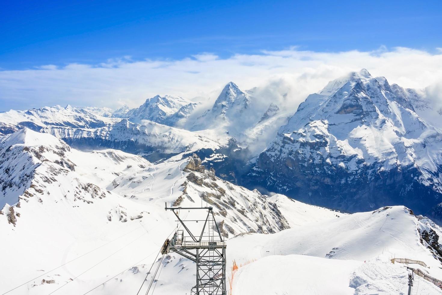 vue panoramique imprenable sur les Alpes suisses photo