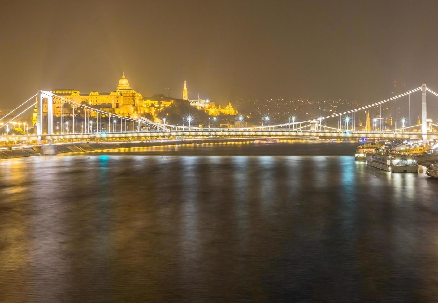 Vue de nuit sur le pont Elizabeth à Budapest, Hongrie photo