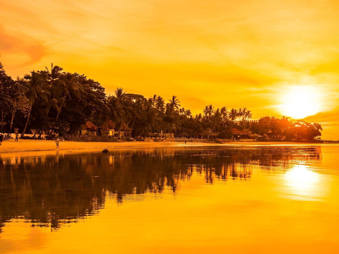 belle plage tropicale au lever du soleil photo