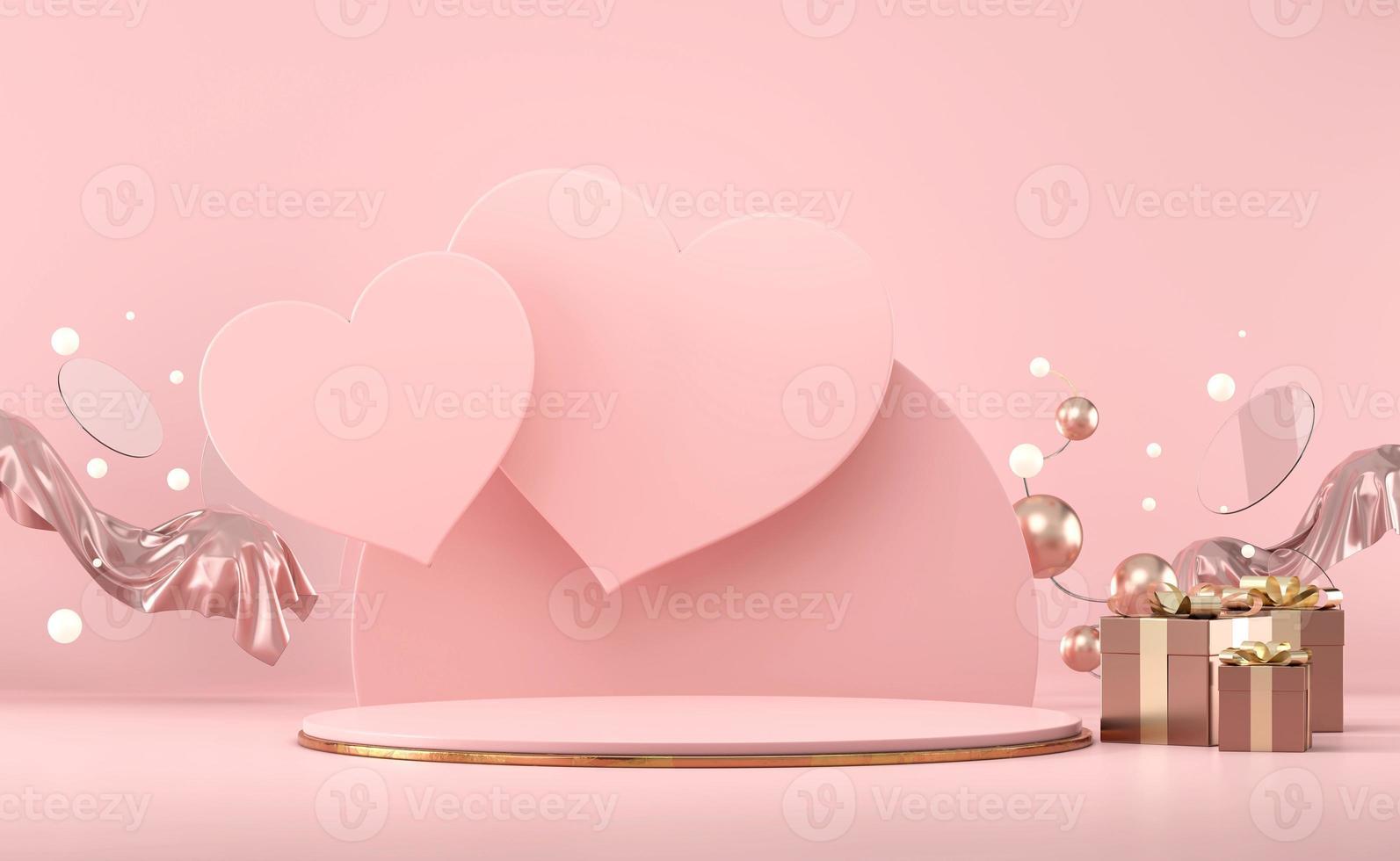maquette de podium de la scène hexagonale de la saint-valentin photo