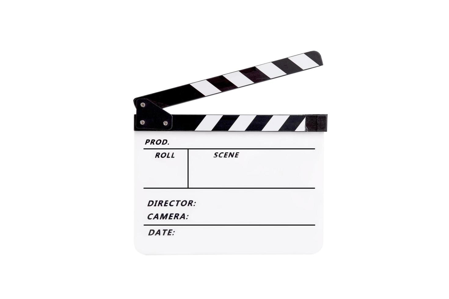 Clap pour film sur fond blanc photo