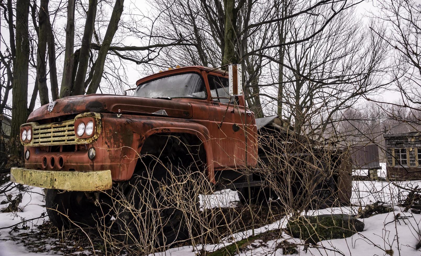 Camion Ford vintage rouillé parmi les arbres dans une cour enneigée photo