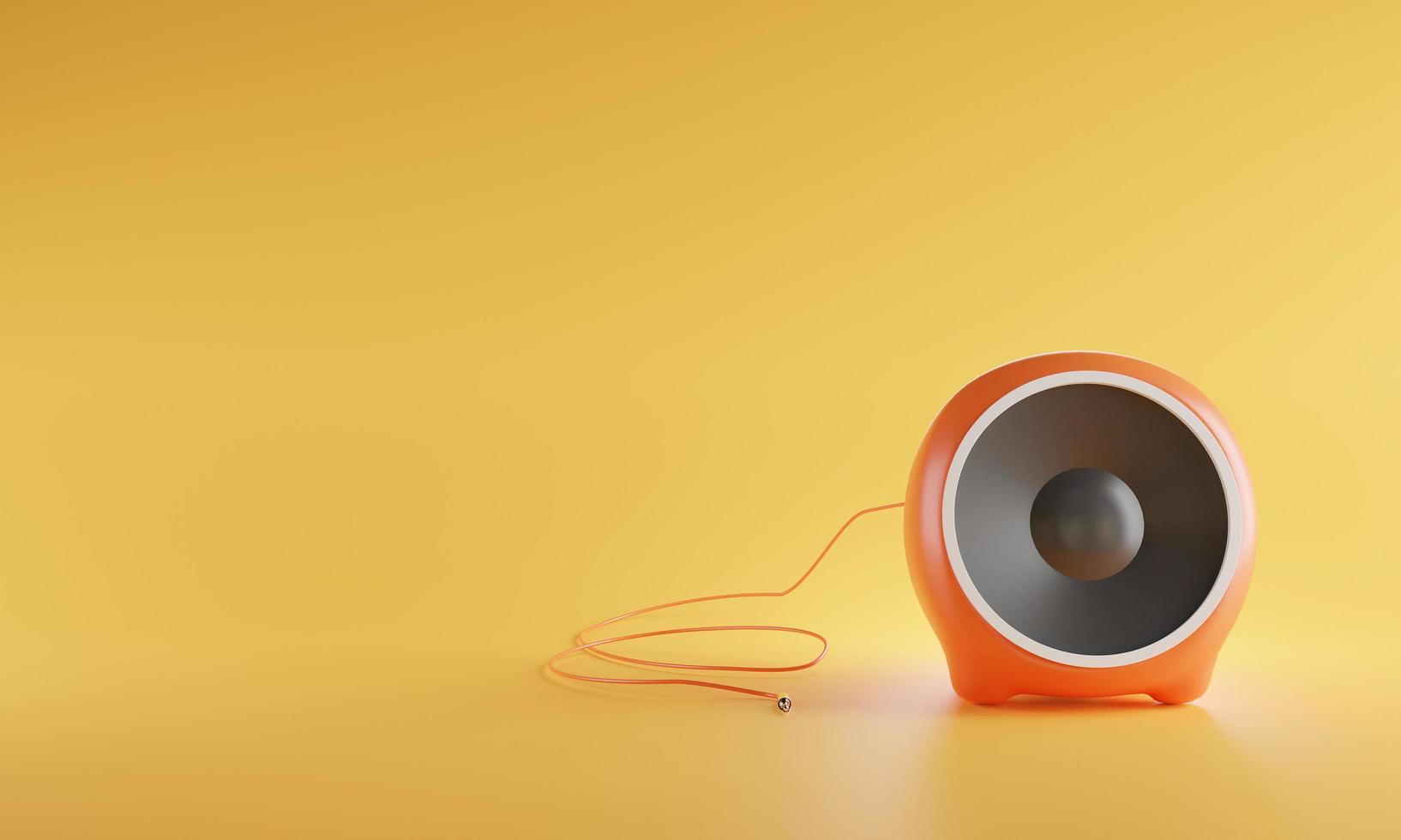 3D haut-parleur audio sphère couleur orange portable isolé sur fond jaune photo
