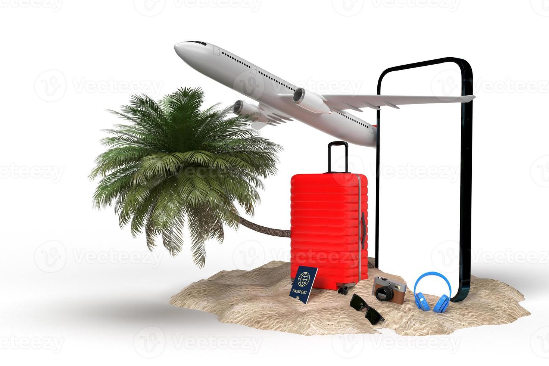 Rendu 3D d'articles de vacances de voyage photo