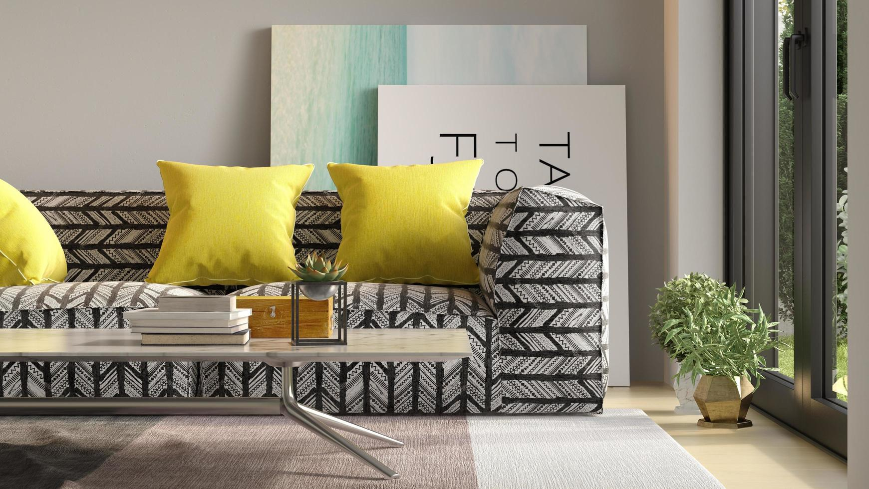 Intérieur d'un salon moderne avec canapé en rendu 3d photo
