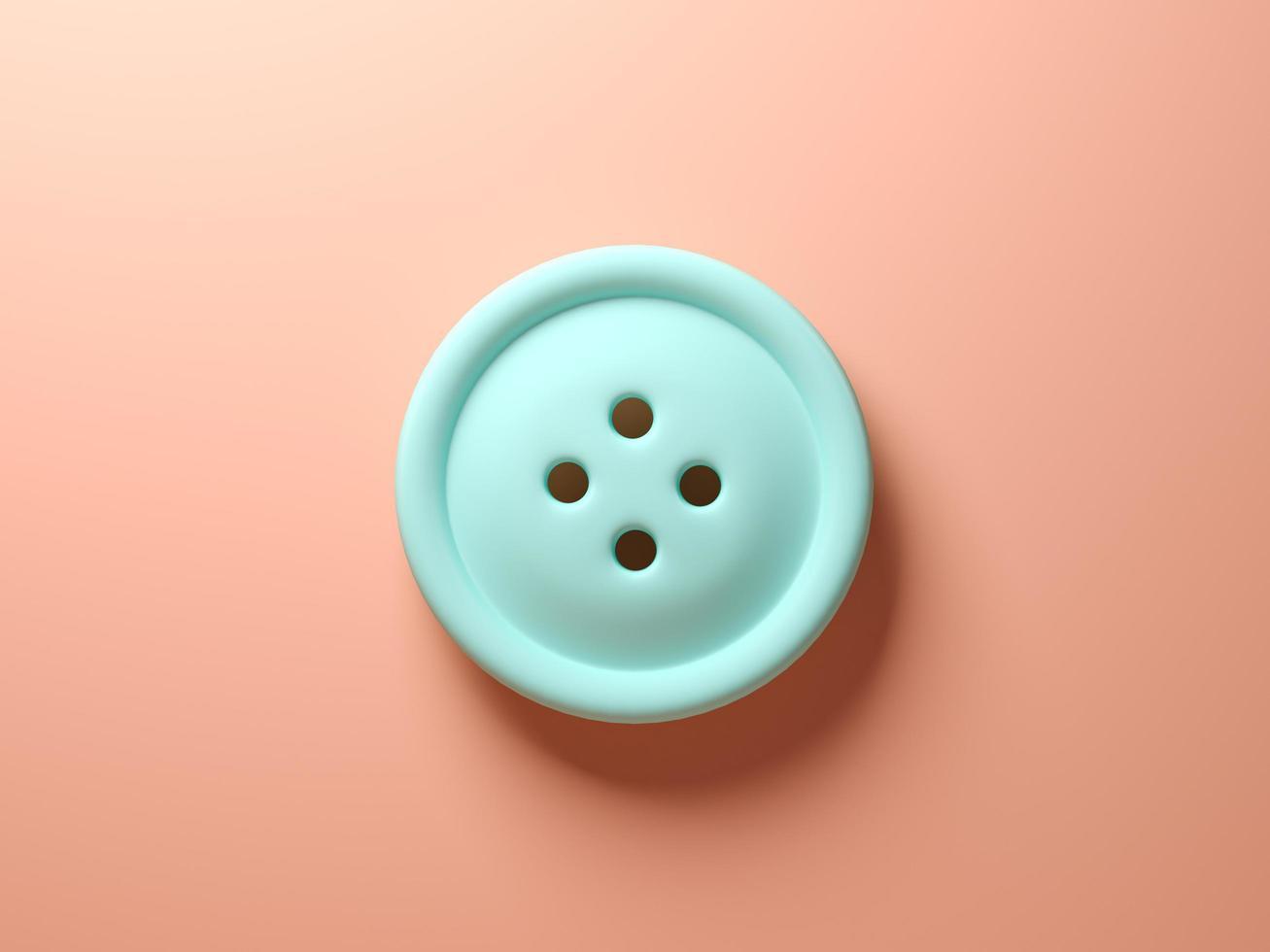 un bouton bleu sur fond rose en rendu 3d photo