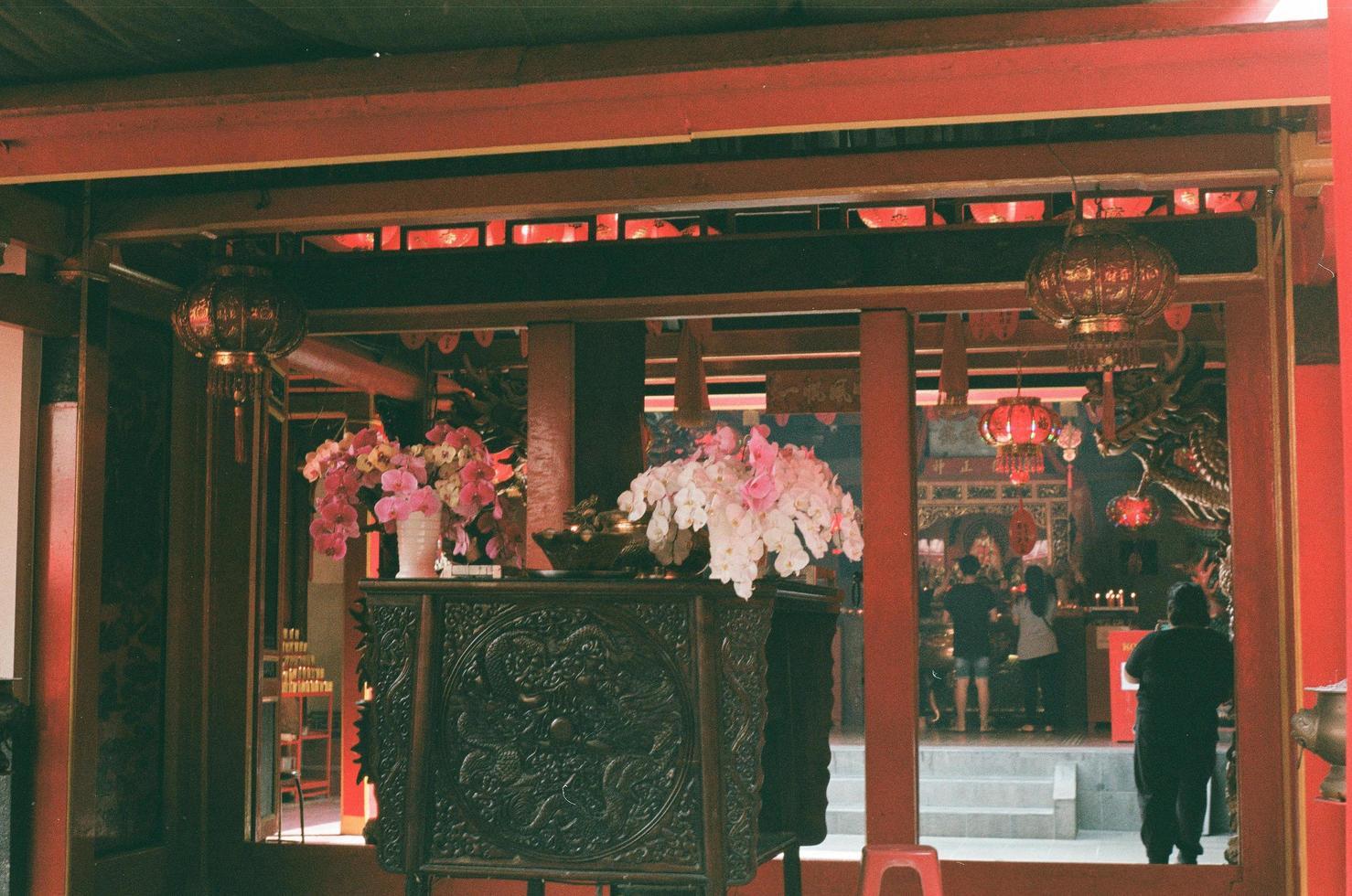 Chine - signalisation du nouvel an chinois et fleurs photo