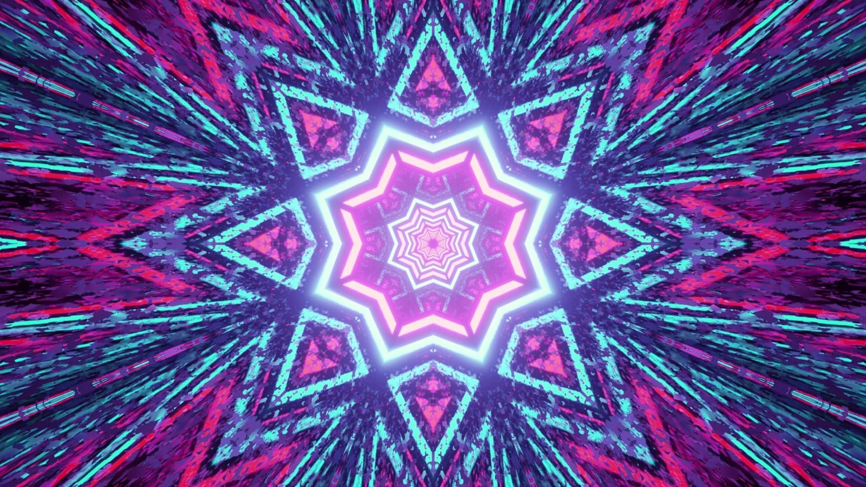 Kaléidoscope en forme d'étoile abstrait 3d illustration photo