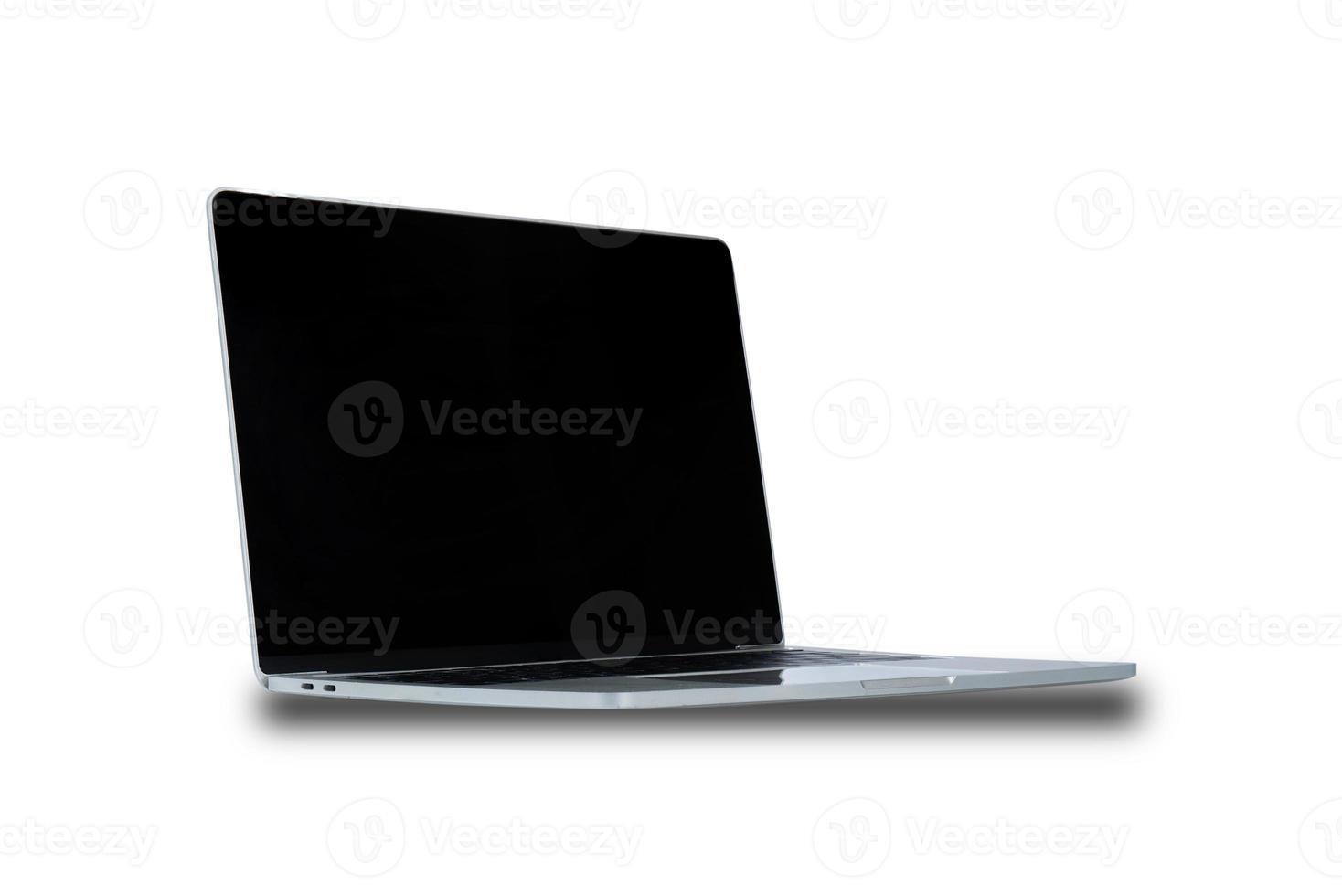Ordinateur portable avec écran blanc noir isolé sur fond blanc photo